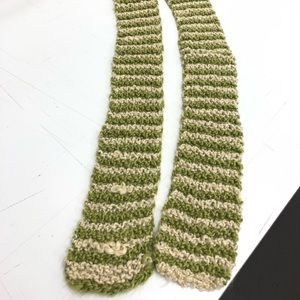 Hand knitted green and cream scarf